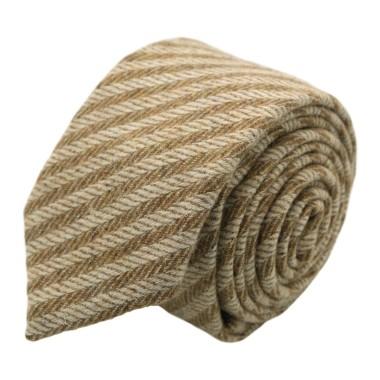 Cravate en Laine mélangée pour Homme. Style et Qualité. Beige à rayures