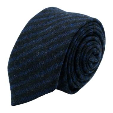 Cravate en Laine mélangée pour Homme. Style et Qualité. Noir et Bleu Marine à rayures
