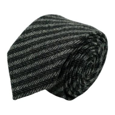 Cravate en Laine mélangée pour Homme. Style et Qualité. Noir et Gris à rayures