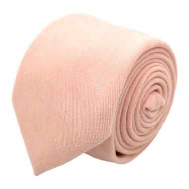Cravate en velours côtelé (fines côtes). Corail Pâle