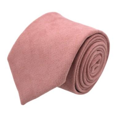 Cravate en velours côtelé (fines côtes). Vieux Rose