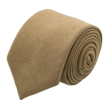 Cravate en velours côtelé (fines côtes). Marron Tabac