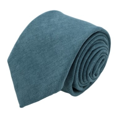 Cravate en velours côtelé (fines côtes). Bleu Canard