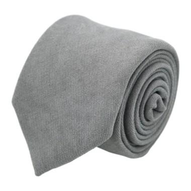 Cravate en velours côtelé (fines côtes). Gris Clair