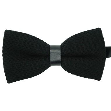 Noeud Papillon à ruban en simili cuir. Noir tricot