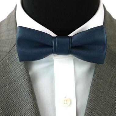 Noeud Papillon de mode en Cuir PU. Bleu marine uni