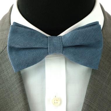 Noeud Papillon en velours côtelé (fines côtes). Bleu canard