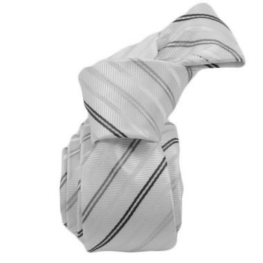 Cravate Attora.. Blanc à rayures noires et grises. Slim, étroite.