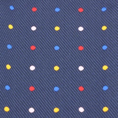 Ensemble Noeud papillon et Pochette assortie. Bleu à pois multicolores.