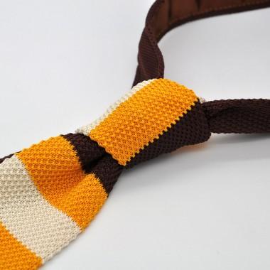 Cravate Tricot Marron, Jaune et Beige. Bout carré.
