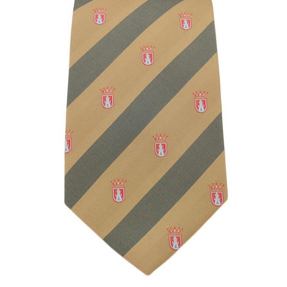 Cravate Saint Hilaire. Marron à rayures avec de petits motifs royaux rouge.