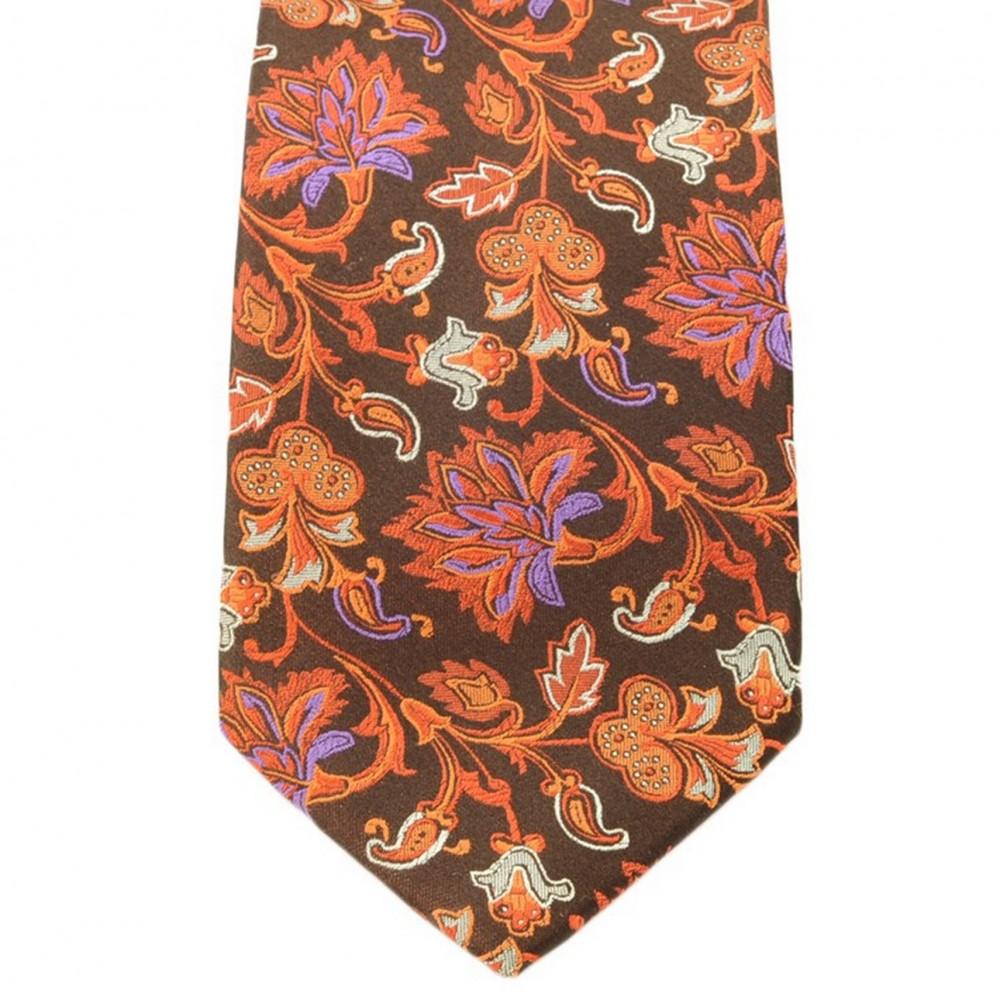 Cravate Saint Hilaire. Marron et orange fleuris.