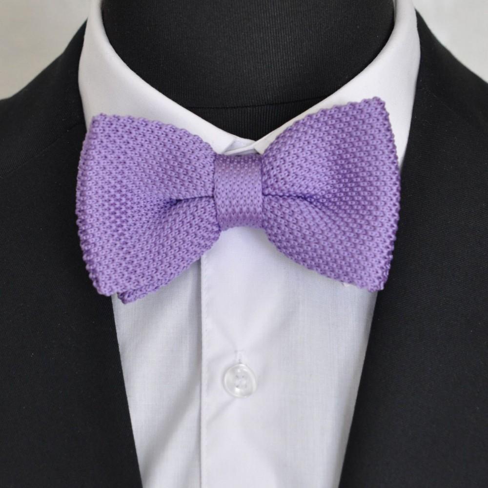 noeud papillon homme pas cher tricot nou ajustable violet clair uni. Black Bedroom Furniture Sets. Home Design Ideas