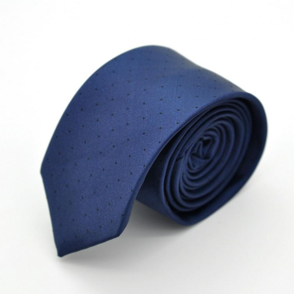 Cravate Slim en Soie. Bleu marine à fins pois.