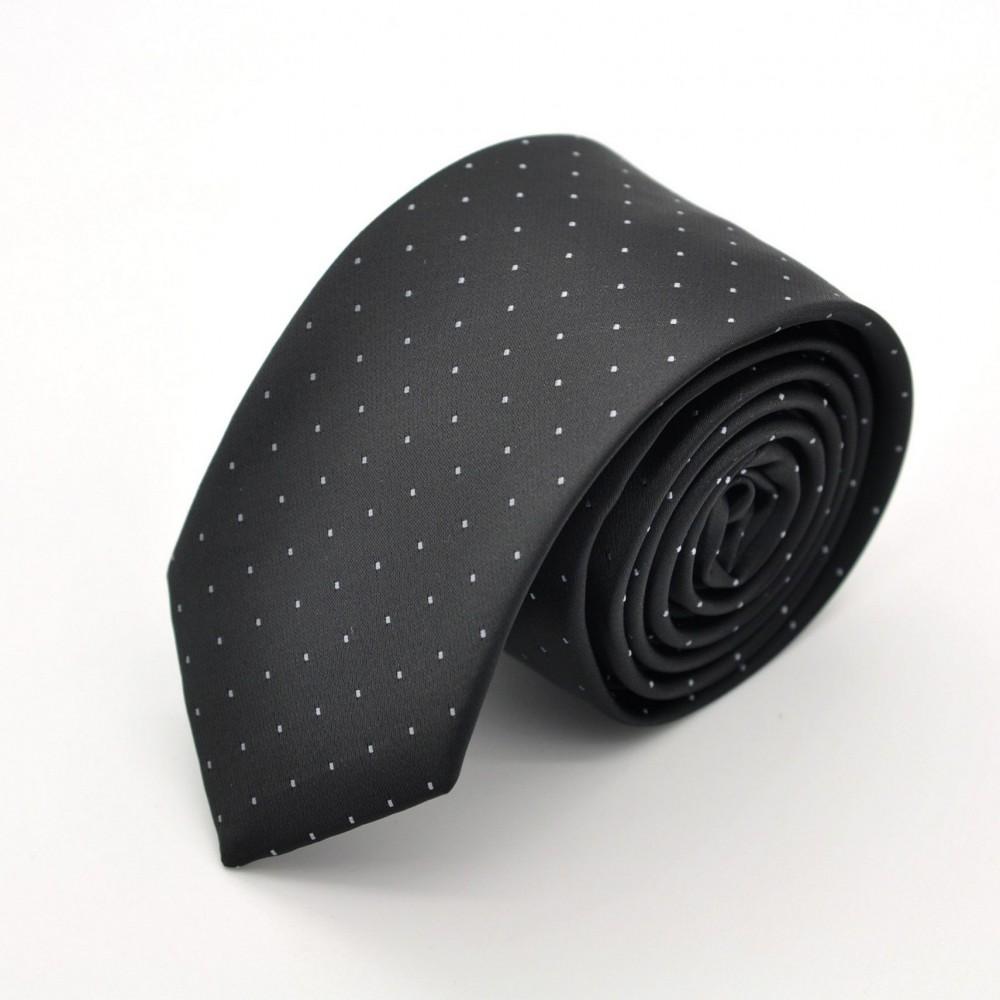Cravate Slim en Soie. Noir à fins pois.