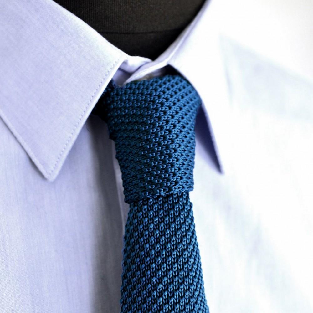 prix abordable limpide en vue le magasin Cravate Tricot Homme Bleu canard Uni. Accessoire mode homme ...