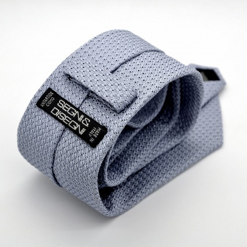 Cravate en Grenadine de Soie 'grosso'. Bleu Ciel