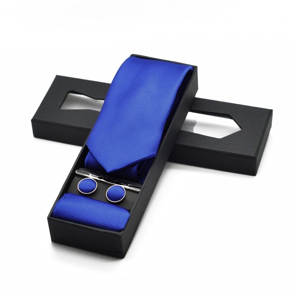 Coffret cravate, pochette, boutons de manchette et pince à cravate assortis. Bleu roi