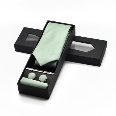 Coffret cravate, pochette, boutons de manchette et pince à cravate assortis. Vert pâle