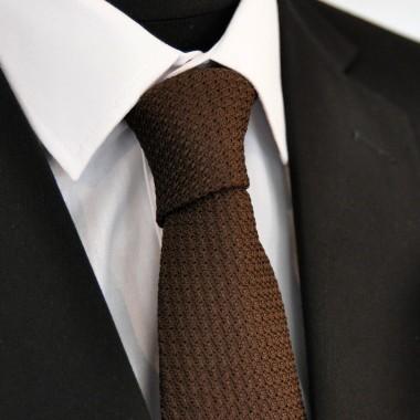 Cravate en Grenadine de Soie 'grosso'. Marron