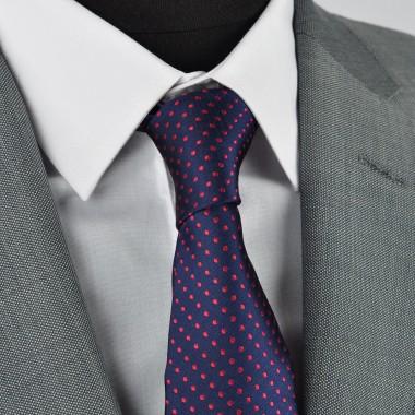 Cravate Homme Attora. Bleu marine à pois rouges