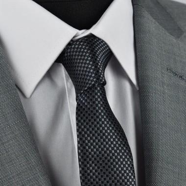 Cravate Slim homme noire à fin quadrillage. Attora