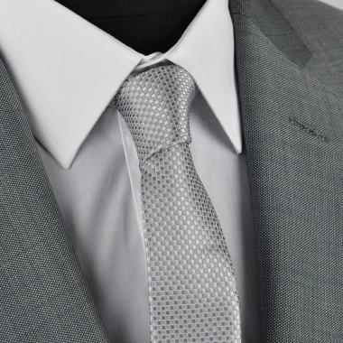 Cravate Slim homme gris/argent à fin quadrillage. Attora