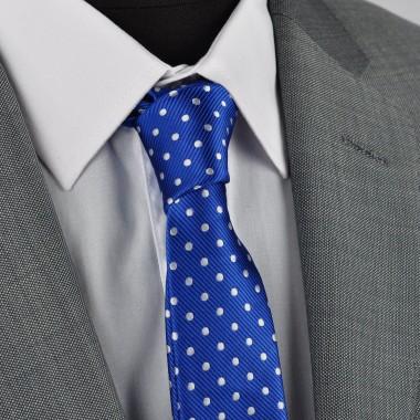 Cravate Slim homme bleue roi à pois blancs. Attora