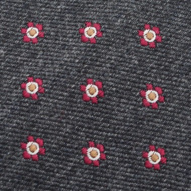 Cravate Homme en Laine. Gris anthracite à petites fleurs rouges.
