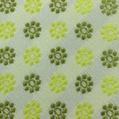Cravate Attora. Vert à petits motifs fleuris. Slim, étroite.