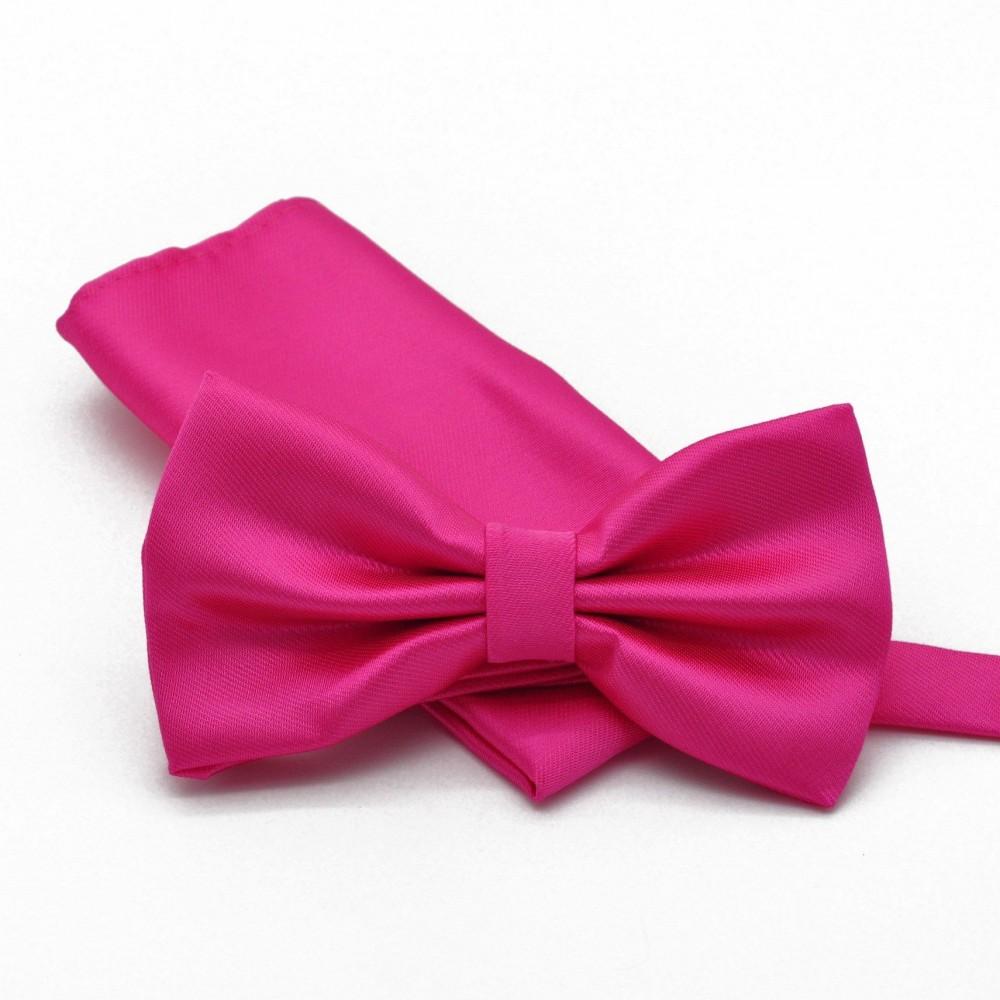 ensemble noeud papillon et pochette assortie rose fuchsia uni. Black Bedroom Furniture Sets. Home Design Ideas