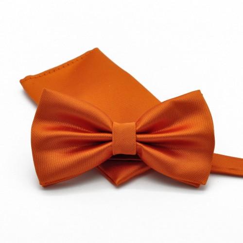Ensemble Noeud papillon et Pochette assortie, orange uni.