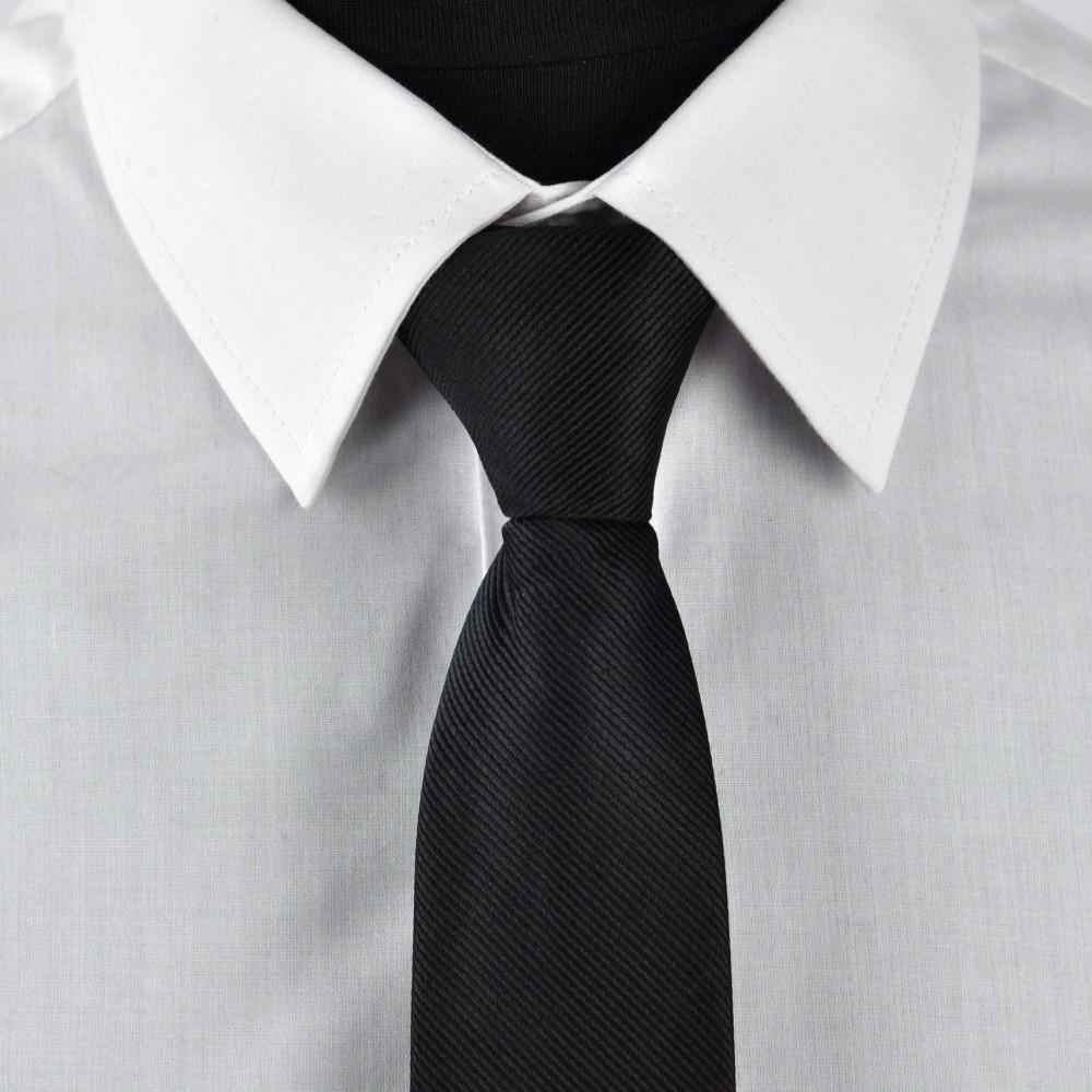 Cravate Enfant Noir slim uni. Pomme Carré