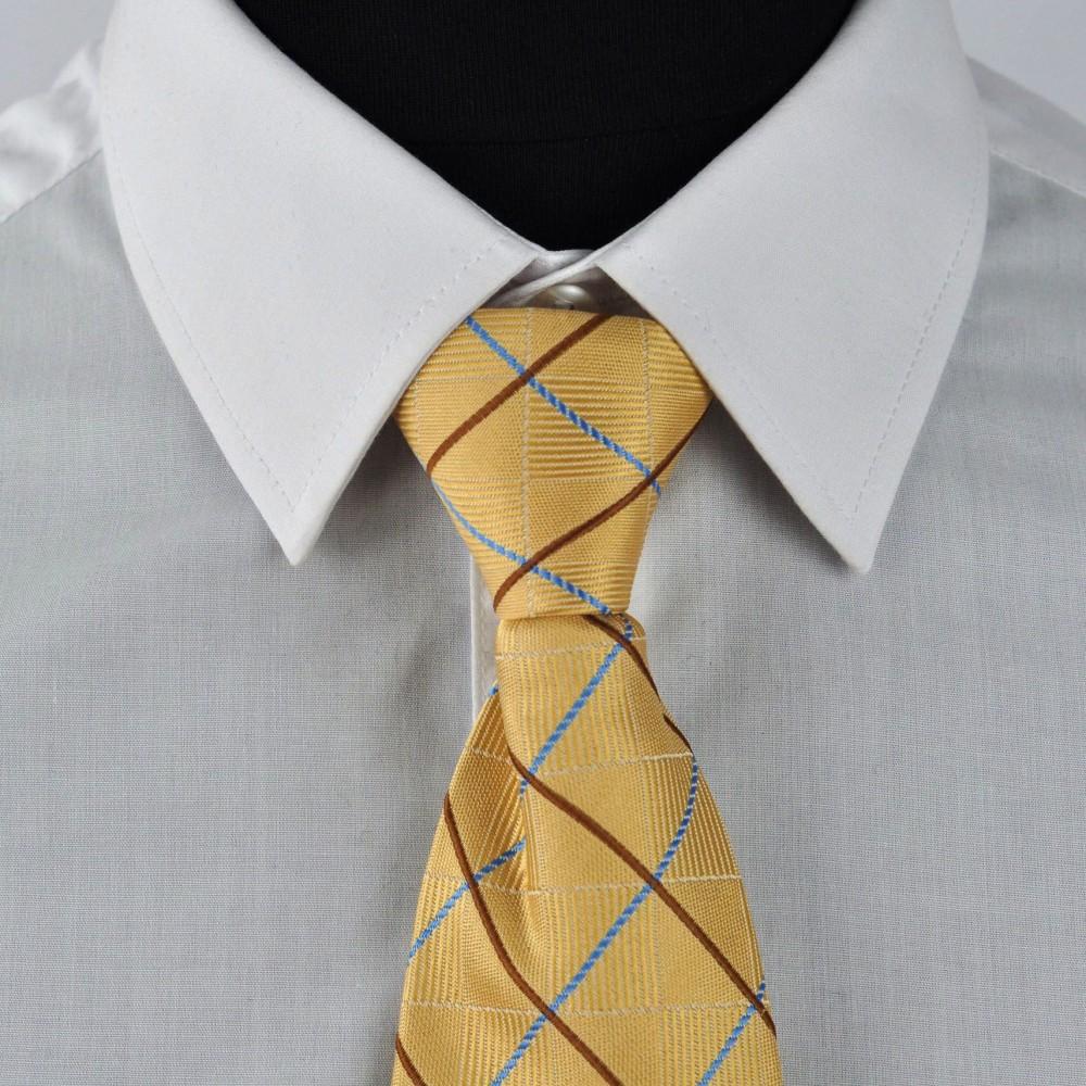 Cravate Enfant Jaune à carreaux. Pomme Carré