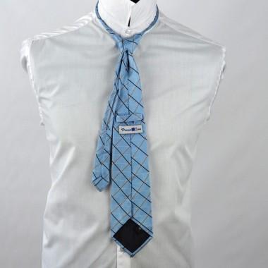 Cravate Enfant Bleu à carreaux. Pomme Carré