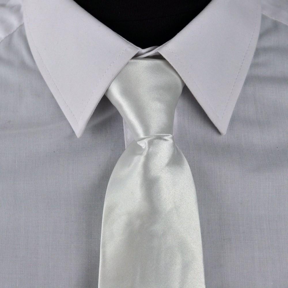 Cravate Enfant Blanc uni. Pomme Carré