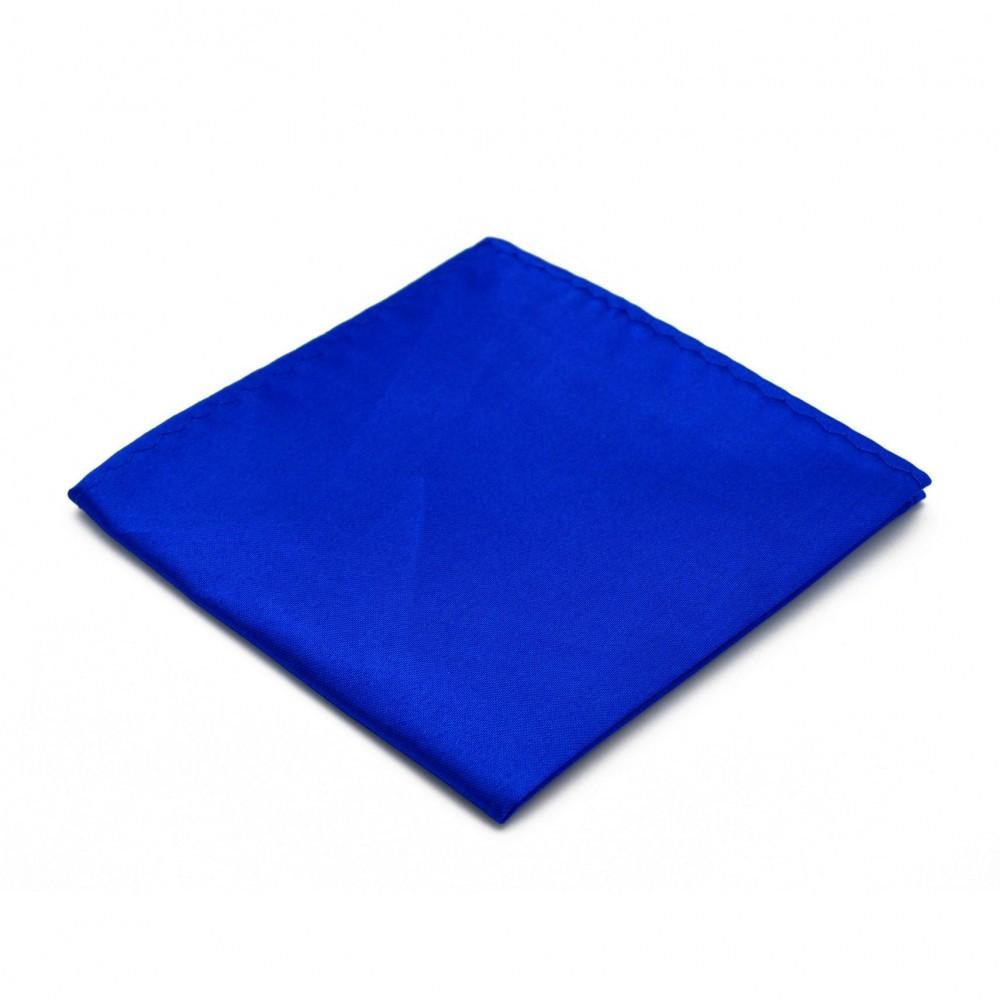 Pochette de costume. Bleu roi uni, en soie.