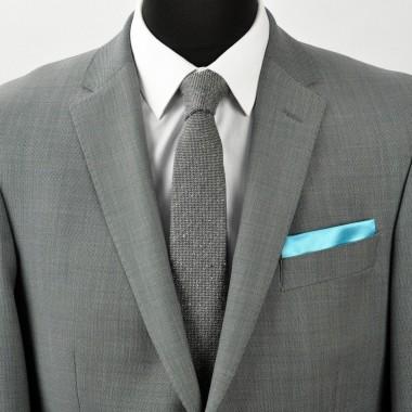 Pochette de costume. Turquoise uni.