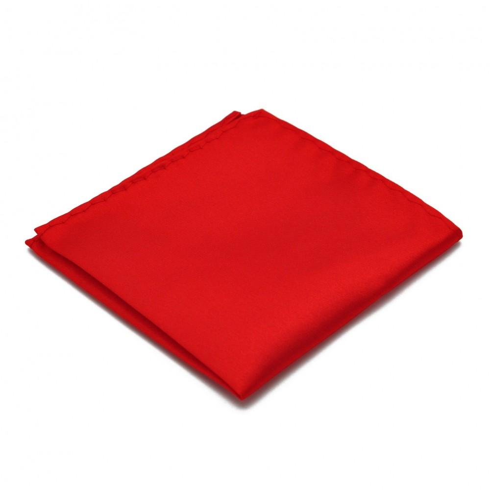 Pochette de costume. Rouge uni, en soie.