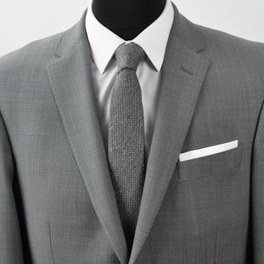 Pochette de costume. Blanc uni, en soie.