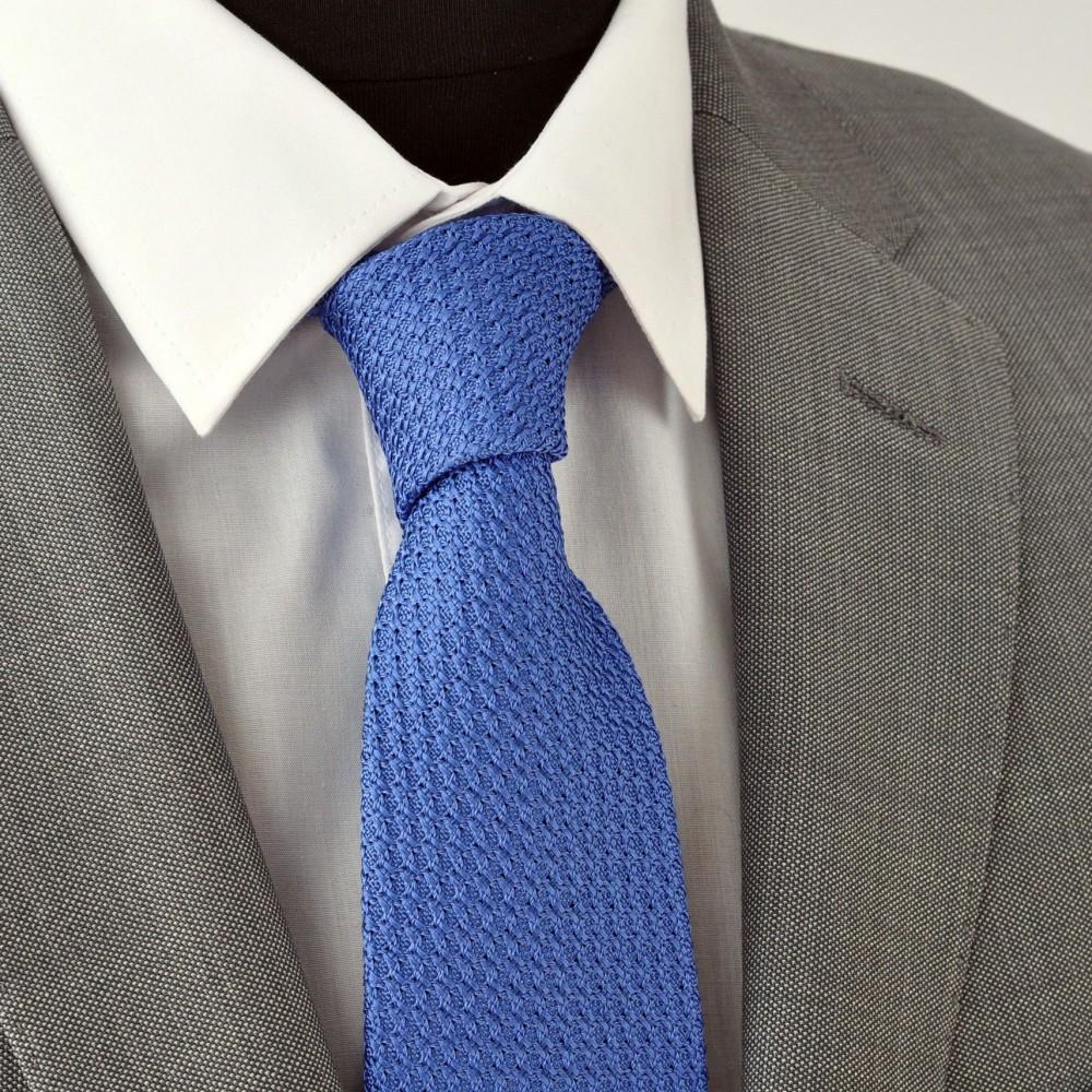 cravate grenadine de soie 39 grosso 39 bleu fabriqu en italie c me. Black Bedroom Furniture Sets. Home Design Ideas