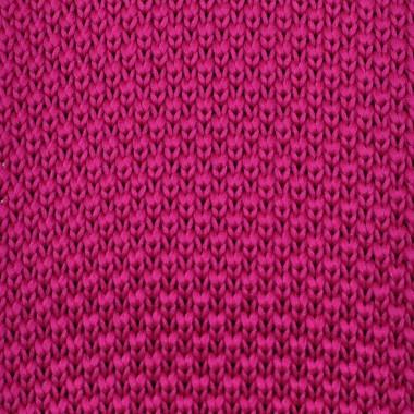 Cravate tricot pour homme. Fuchsia uni. Slim et bout carré.