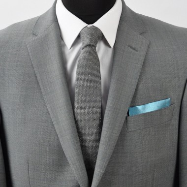 Pochette de costume. Bleu canard uni.
