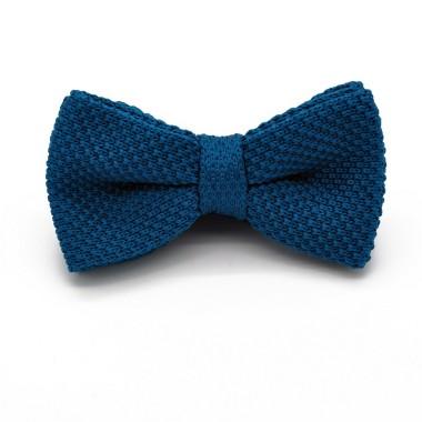 Noeud papillon en tricot. Noué. Bleu canard uni