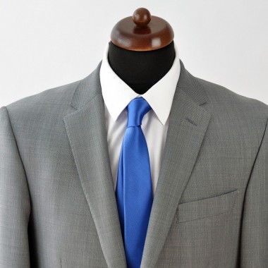 Cravate Slim 30% Soie. Bleu uni.