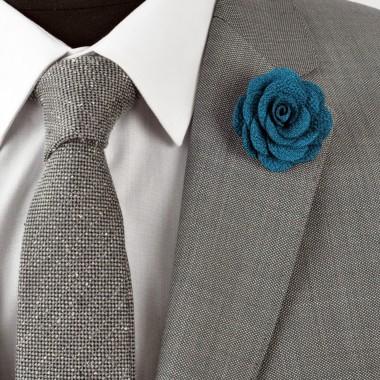 Broche Verte Lagon pour boutonnière de costume homme.