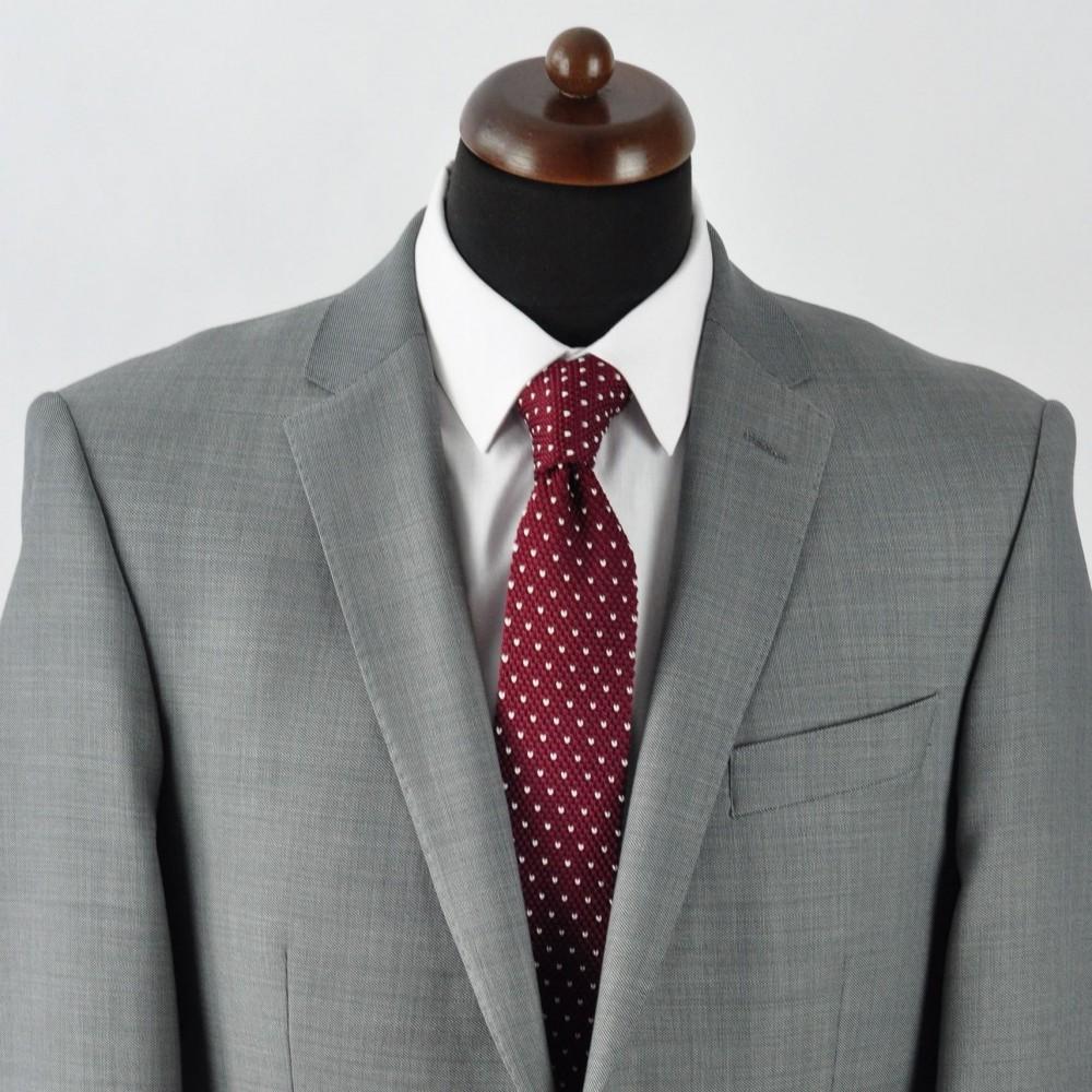 b8e1b3de84f5d Cravate Tricot Bordeaux à pois blancs. Accessoire mode homme Pas Cher.