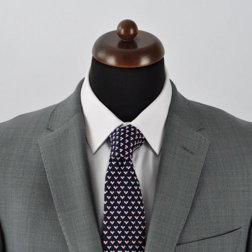 Cravate tricot pour homme. Bleu Marine à motifs rouge/blanc.