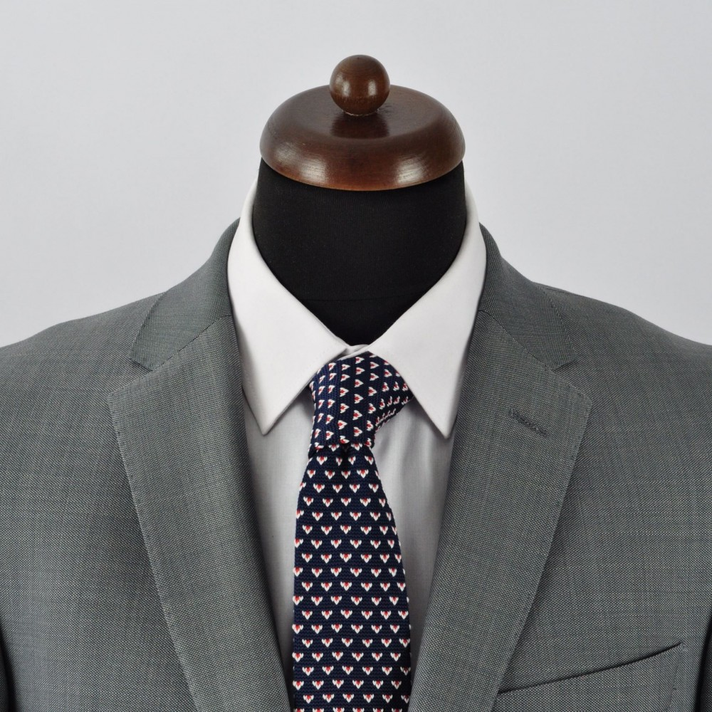6d9dda9906e59 Cravate Tricot bleu marine à motifs rouge/blanc. Accessoire mode ...