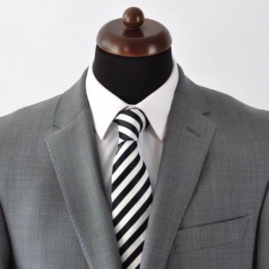Cravate Homme Classique. Noir et blanc rayures